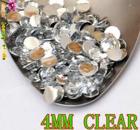 wholesale 4MM CLEAR Acrylic RESIN SILVER FLATBACK  RHINESTONE FOR DIY 3D NAILS ART PHONE glitter decorations 10000PCS/LOT