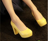 Free shipping shoes high heels for women platform purple 2013 women's spring thick heels leather yellow  beige ladies