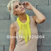 Neon Yellow Statement Candy Color Long Beaded Bib Tassel False Collar Punk Large Chain Necklace 2013 Fashion Brand Jewelry!J C
