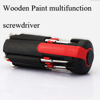 Wooden Paint multifunction screwdriver multi screwdriver with screws Packed with LED light outdoor essential tool