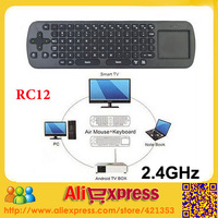 Freeshipping 2.4GHz Wireless Fly Air Mouse RC12 and Touchpad Mini Wireless Keyboard Combo for Google TV BOX Player Tablet pc