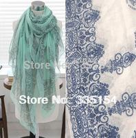 2014 Women Vintage Floral Mint green Cotton Voile Scarf Women Wraps Hijabs 4colors 10pcs/lot FREE SHIPPING