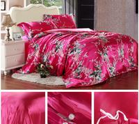 FEDEX Free shipping Europe Luxurious RED Pattern Wedding 100% Silk  4PCS Bedding set