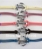 24PCS/LOT!Free Shipping!Wholesale  Braided Hot Sale Leather Chain Silver Anchor Charm Bracelet Bangle Fashion Jewelry C-467