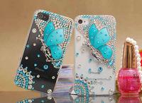 1pcs (HongKong Post Air mail ) bulk Rhinestone Bling Crystal Diamond Pearl 3D Elegant Butterfly Hard Case Cover for iphone 5 5g