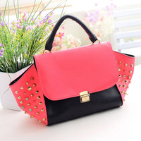 Free/ drop shipping PU 2013 fashion JY117  small Rivet handbag shoulder bag and women's casual messenger bags and tote bags