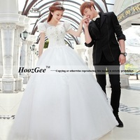 Ball Gown Scoop Cap Sleeve Voile Lace Wedding Dress With Diamond Decoration HoozGee-960