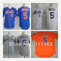 Wholesale Men's Baseball Jerseys NY Mets David Wright #5 Blue,White,Orange,Gray Coolbase Jersey size:48~56+Free Shipping