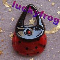 Wholesale 5pcs/lot red Lampwork Glass Bag Pendant Beads Free Shipping