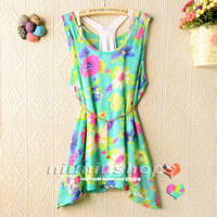 M 2013 summer women's sleeveless bow twinset belly chain slim chiffon shirt top
