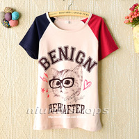 M 2013 sweet princess women's loose casual glasses cat color block decoration short-sleeve t-shirt