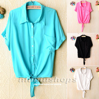 J 2013 women's turn-down collar loose shirt tieclasps sweep loose short design shirt