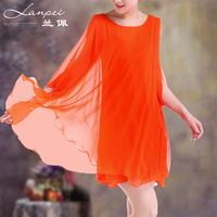 2013 women's sleeveless loose plus size silk quality mulberry silk one-piece dress