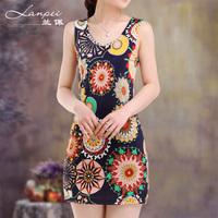 2013 women's slim hip tank dress small vest long design basic vest female one-piece dress