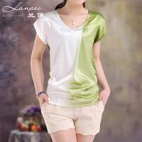2013 summer women's short-sleeve mulberry silk top o-neck slim silk shirt 12058