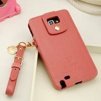 Free shipping For samsung   n7100 genuine leather lanyard protective case n7108 note2 phone case protective case
