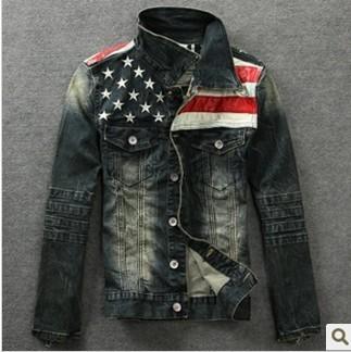 New American flag jeans jacket for men Fashion motorcycle jeans short jacket do old jeans denim coat