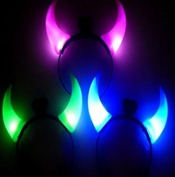 Free shipping, halloween light-emitting horn flashing devil lamp horn hair band light-up toy 10 pcs/lot, Drop shipping, PW0008
