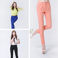 Free shi[pping Chiffon casual capris trousers plus size loose harem pants candy color skinny pants female