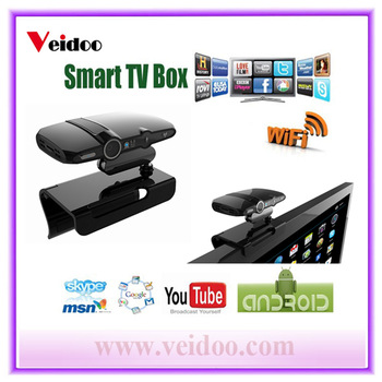 High quality dual core smart tv box with camera android 4.2.2 for Skype Youtube Gmail on TV  Free shipping
