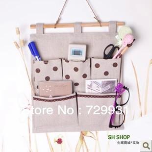 Fashion style cotton, five pocket Polka Dot Bag, door wall, hanging storage bag, waterproof(China (Mainland))