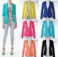 2013 Za new hot stylish and comfortable women's Blazers Candy color lined with striped Z suit  Plus size XL