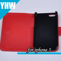 free shipping!high quality flip pu leather case without card holder for iphone 5