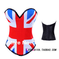 2014 Free P&P sexy women Corsets,Push Up USA UK Flag Printing Corsets,Lace Up Bodysuit,Sexy Shaper for women