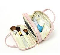 Free Shipping Hot-selling  Pink Double Zipper Double Layer Portable Cosmetic Bag Storage Bags