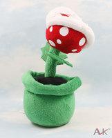 Super Mario Plush Piranha with Flowerpot toy Doll anime dolls soft children toys 2pcs/lot Free Shipping