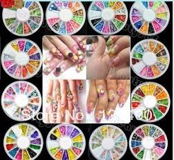 New 12 Wheel Nail Art Decoration Nail Sticker DIY 3D Tip Polymer Clay
