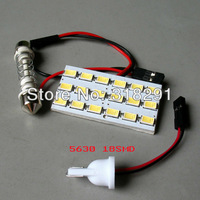 Panel LED Lamp 50PCS/LOT 18 LED 5630 SMD White 12V  Room Dome Door Car Lights Interior with 2 Defferent Adapter