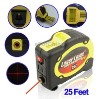 Laser Level with Tape Measure Pro (25 feet) with Belt Clip, 360 Degree Horizontal Laser Line and Point