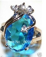 fashion! beautiful sky blue crystal woman's ring size:7.8.9 Fashion jewelry