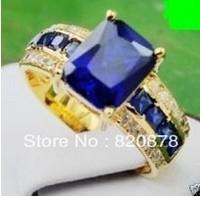 Wholesale Exquisite Tanzanite&Yellow Gild cz Ring size 7# 8# 9# fashion jewelry