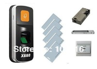 RFID Fingerprint Access Control System YET-X660-EM +Magnetic Lock+Power Supply+ Metal Exit Button+5pcs User Cards