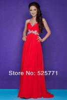 Free shipping Sexy Chiffon Floor length Formal Evening Prom Dress Sweetheart Beaded Beautiful Fashion Party Gown Custom Size