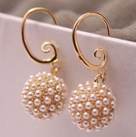 Free shipping/Promotion Pearl ball earrings,high quality earrings,fashion jewelry,wholesale jewelry,women's gift