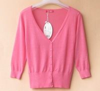 FREE SHIPPING, 2014 spring and summer  New slim women's cropped-sleeve cardigan sweater wholesale price