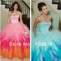 Bewitching Looking Sweetheart Neck Three Colors Organza Crystals Long Ball Gown Quinceanera Dresses 2013