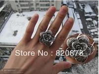 Wholesale handmade Tibet tibetan miao silver hand carved Men `s Rose Rings fashion jewelry # 001