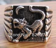 Wholesale handmade Tibet tibetan miao silver hand carved Men `s Tiger month Akira Rings fashion jewelry # 003 2PC/LOT