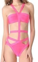 Wholesale HL Bandage Bikinis Paris Elastic Knitted Sexy Swimwear Pink White Swimwear Swimsuit