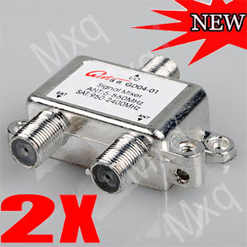 New 2pcs 2 Way Port TV Signal Satellite Coaxial Diplexer Combiner & Splitter Combiners Cable Switch Free Shipping