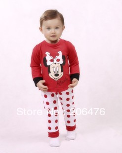 2013 free shipping Autumn long-sleeved girls Minnie suit home underwear 5set/lot