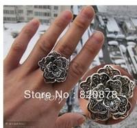 Wholesale handmade Tibet tibetan miao silver hand carved Men `s Peony Rings fashion jewelry # 002