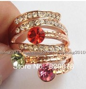 fashion! Natural crystal, zircon Yellow Gold Filled Ring Women 7#8# fashion jewelry