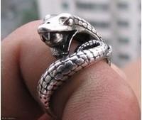 Wholesale handmade Tibet tibetan miao silver hand carved Men `s snake Rings fashion jewelry 2PC/LOT #003