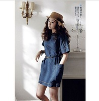 Free shipping!  new casual and comfortable Denim Dress with belt , loose plus size , 6 size XS/S/M/L/XL/XXL  LF5807
