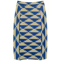Beautiful ! graphic color block geometric patterns high waist pencil skirt medium skirt slim hip skirt